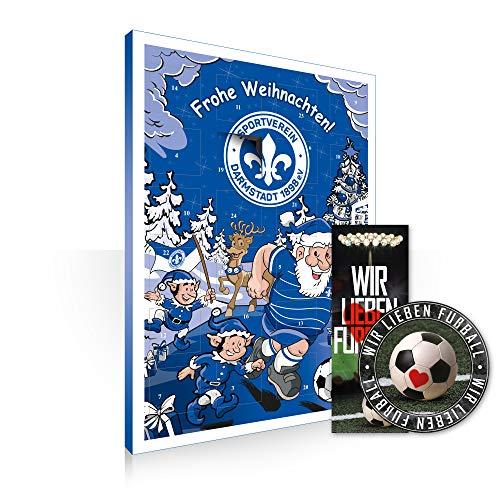 Adventskalender, Weihnachtskalender deines Bundesliga Lieblingsvereins 2019 - Plus gratis Sticker & Lesezeichen Wir Lieben Fußball (SV Darmstadt 98)