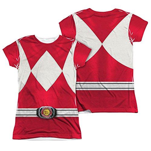 Power Rangers Disfraz infantil de la serie de televisin en vivo rojo con impresin de 2 lados - blanco - Large