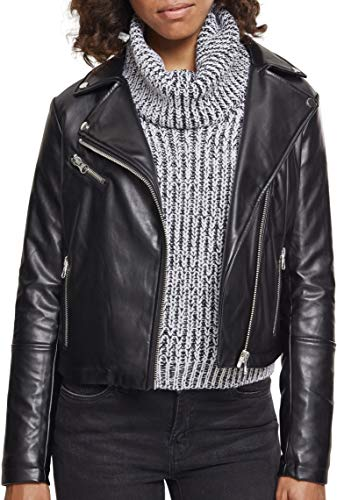 Urban Classics Damen Ladies Faux Leather Biker Jacket Jacke, Schwarz (Black 00007), X-Small