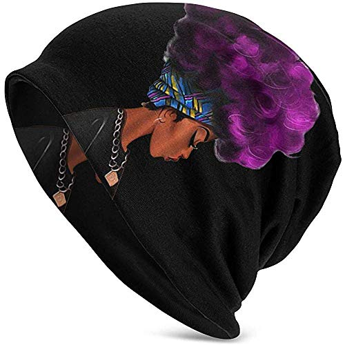 Vince Camu Mujeres africanas con Cabello prpura Unisex Soft Beanie Cap Rayas Slouchy Chemo Hat Turbante Cosy Skull Cap Ligero Stretch Sleep Hat para Hombres Mujeres Navidad