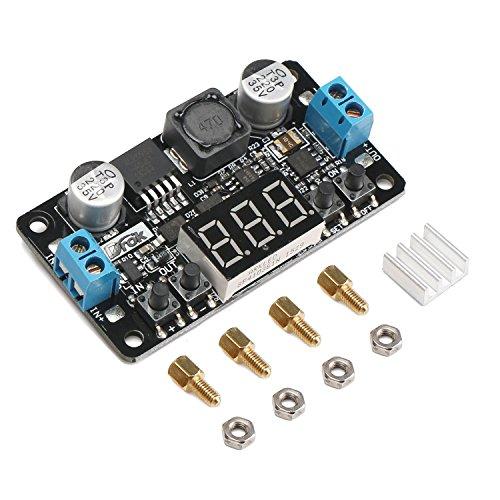 DROK 090232 24V to 12V 5V DC Converter,  LM2596 Buck Power Converter 5-32V to 0-30V Step Down Adjustable Output Voltage Regulator Board Power Supply Module with LED Display Voltmeter Screw & Heatsink