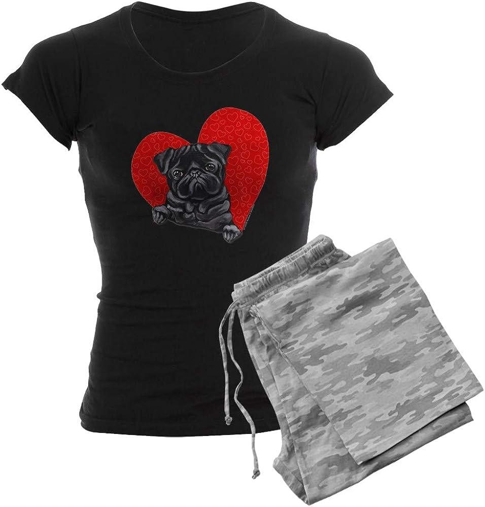売れ筋ランキング CafePress Black Pug 人気ブランド Heart PJs Women's Pajamas Dark