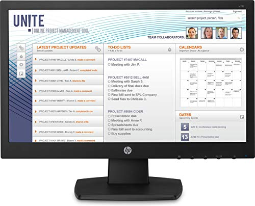 HP V197 LED Display 47 cm (18.5') WXGA Plana Negro - Monitor (47 cm (18.5'), 1366 x 768 Pixeles, WXGA, LED, 5 ms, Negro)...