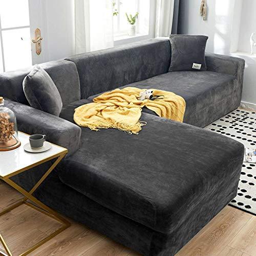 JHLD Toalla Elástica, Funda Sofá Terciopelo Cubre Sofa Antideslizante Confortable Lavable Cubre Sofa para Niños Gato Perro-3Asiento 190-230CM (75-90inch)-B