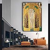 KWzEQ Cartel Abstracto de la Pintura al óleo y Foto de la Lona, decoración Mural del hogar de la Sala de Estar,Pintura sin Marco,60x90cm