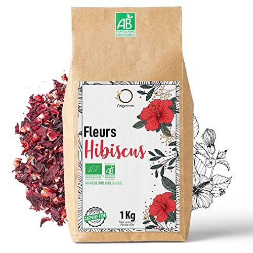 ORIGEENS HIBISCUS BIO 1kg Grade Supérieur | Fleur Hibiscus pour Bissap, Thé glacé, Infusion et Tisane | Infusion Detox Drainante | Fleurs d'Hibiscus Séchées Bio