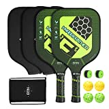 A11N Premium Pickleball Paddle Set - Graphite Face and Honeycombed Polymer Core Paddles | Durable Balls | Overgrips | Covers | Drawstring Bag, Ultra Cushion Grip & Upgrade Racquet