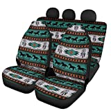 FKELYI 3Pieces Car Front&Rear Seat Covers Accessories Auto Universal Saddle Blanket for Most Vehicle Interior Seat Protector Ethnic African Tribal Horse Dreamcatcher Design