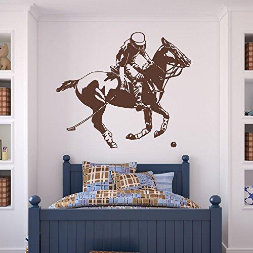 malango® Wandtattoo - Polo Spieler Wand Tattoo Aufkleber Wandaufkleber Reitsport Pferd Tier Spieler ca .140 x 120 cm dunkelrot