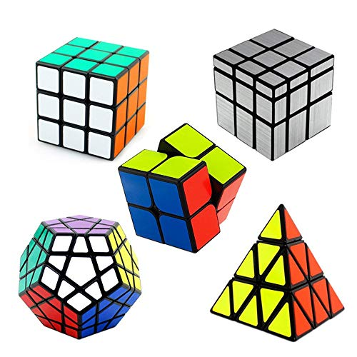 RENFEIYUAN SHENGSHO 5 Pack Set MA de 2x2x2 3x3x3 y Mirror Juguete Educativo Liso 3D para Adultos y niños Rubik Cubo