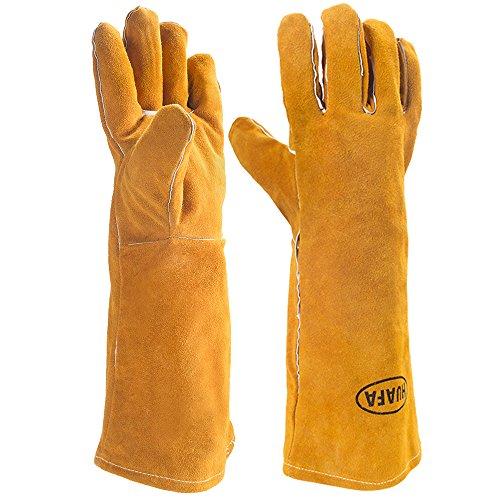 Guantes de horno,HUAFA Cuero resistente al calor guantes para hornear,guantes de barbacoa, guantes para hornear para cocinar,adecuado para cocina, microondas, parrilla-1 Par(Amarillo)