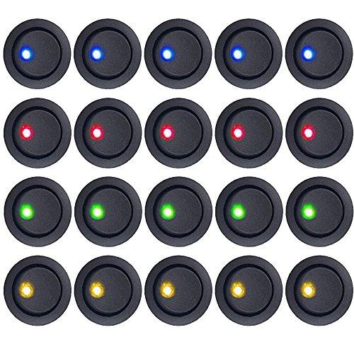 E Support™ 20Pcs 12V Auto KFZ Schalter EIN/AUS Wippenschalter Kippschalter LED Beleuchtet Schalter Blau Rot Grün Gelbe