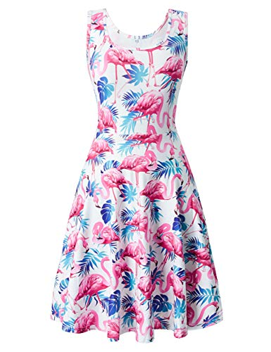 uideazone Women Print Flamingos Floral Cute Sleeveless Dress Sundress