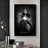 Pinturas en lienzo de mono de carreras de motos en blanco y negro, carteles artísticos impresos, cuadros de pared para la decoración de la pared del hogar de la sala de estar-50x70cm-Sin marco