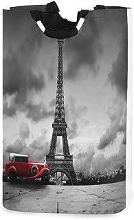 N\A Panier à Linge Paris Tour Eiffel Voiture Rouge Panier à Linge Pliable Grand Sac de Rangement, Organisateur Pliable Sac...