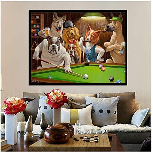 Cartoon Animal Print Canvas Schilderij Hond Spelen Biljart Poster Woonkamer Wall Art Foto Woondecoratie-60x80cmx1pcs- Geen Frame