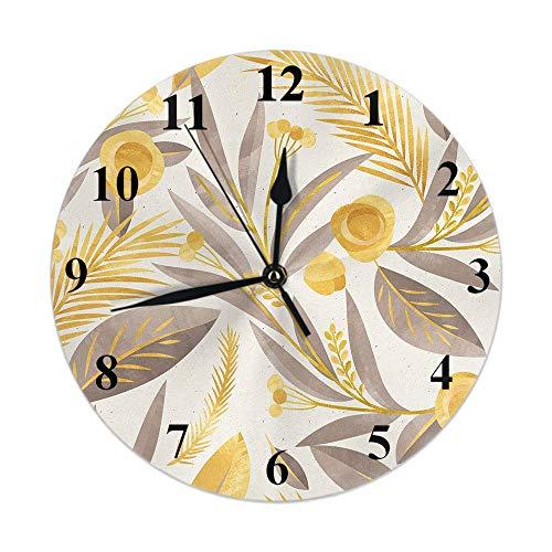 Reloj de Pared,Floral Vintage Otoño Granja Planta Trigo Hoja Bayas Brote En Otoño, Reloj de Escritorio Decoración del hogar para Cocina Sala de Estar Dormitorio Oficina