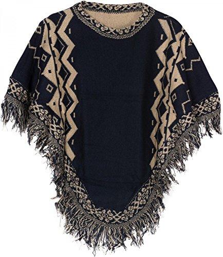 styleBREAKER Strick Poncho mit Azteken Muster und Fransen, Rundhals, Feinstrick, Damen 08010013, Farbe:Dunkelblau-Beige