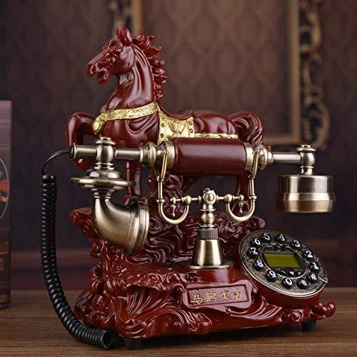 HYY-YY Teléfono casero Número de marcado fijo Número de marcado fijo Teléfono antiguo antiguo con botón para decoración del hogar-A