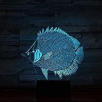 3D LED錯視ランプ 視覚ナイトライト海の動物サメクラゲイルカタッチスイッチホームインテリアランプRGBカラー照明ランプ