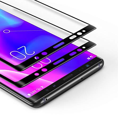 BANNIO [2 Stück für Panzerglas für Samsung Galaxy Note 8, HD Ultra-klar Panzerglasfolie Full Sreen, 9H Härte, Anti-Kratzen, Leicht Anzubringen,Vollständige Abdeckung - Schwarz