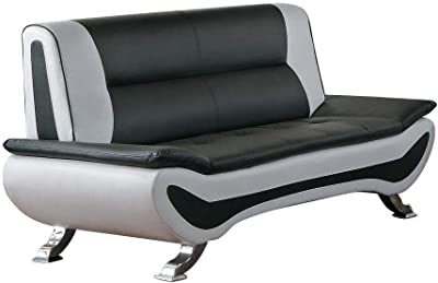 Amazon.com: Aspen sofá de piel, Cuero, Negro: Kitchen & Dining
