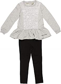 Calvin Klein Little Girls' 2-Piece Peplum Tunic Top and Leggings Set (Heather Grey, 3T)