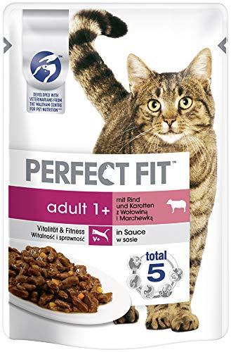 Perfect Fit Katzenfutter Nassfutter Adult 1+ mit Rind und Karotten in Sauce, 12 Portionsbeutel (12 x 85g)