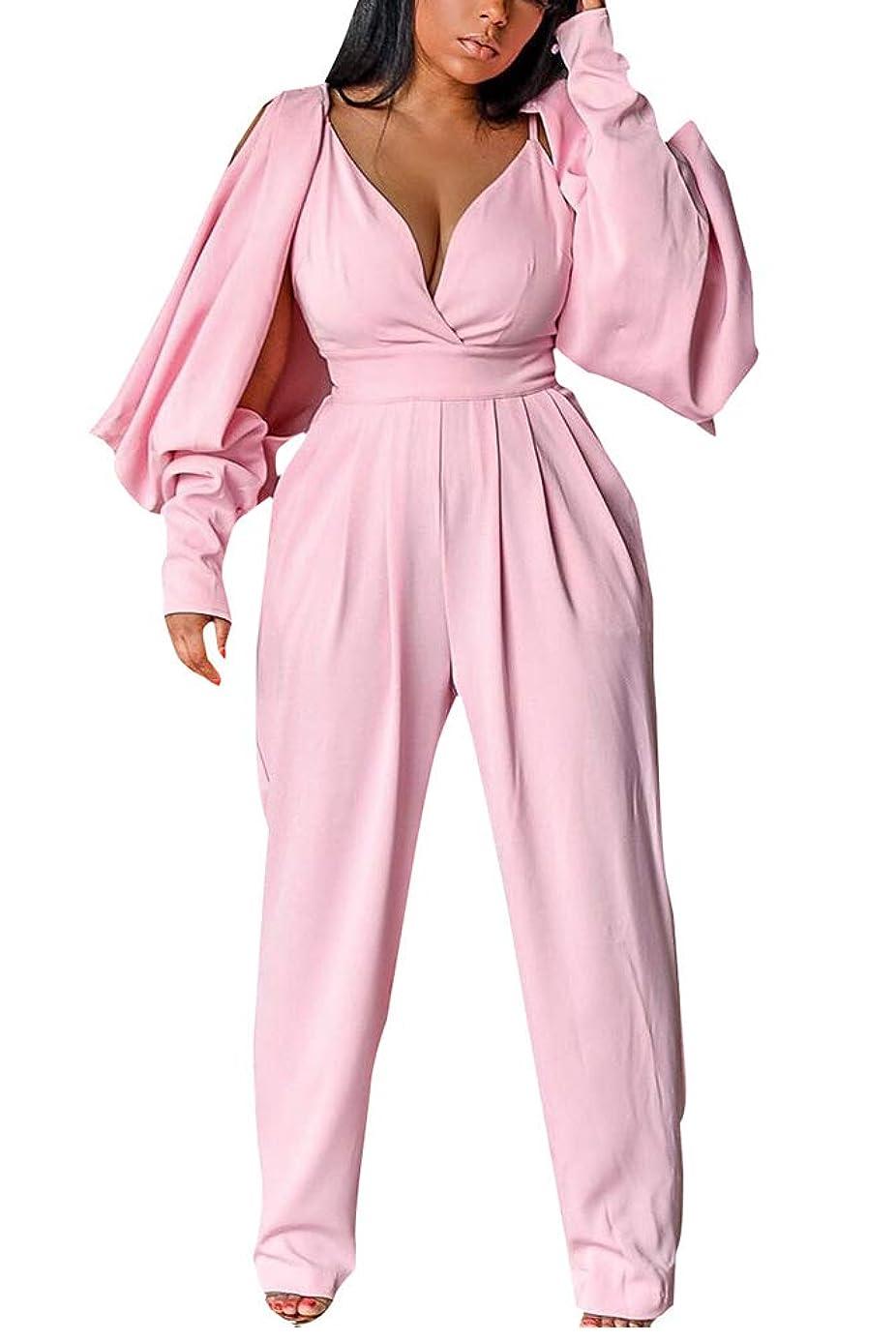 Womens Sexy Deep V Neck Split Long Sleeve Wide Leg Long Pants One Piece Jumpsuit Romper with Pockets Clubwear goi9132032
