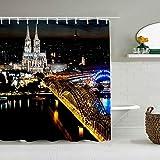 Marutuki Duschvorhang,Köln Deutschland Urban Night Scene Schwarzer Dom Hohenzollern Brücke Rhein Brilliant City Light,personalisierte Deko Badezimmer Vorhang,mit Haken,180 * 180