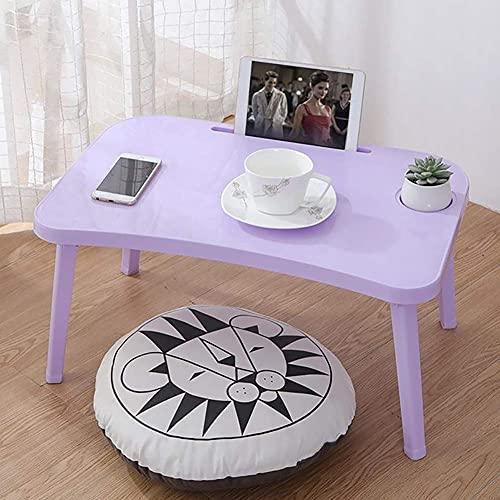 MQJ Mesa plegable, portátil, portátil, escritorio, desayuno, bandejas, ajustable, plegable, con tapa abatible y patas para ordenador, color morado