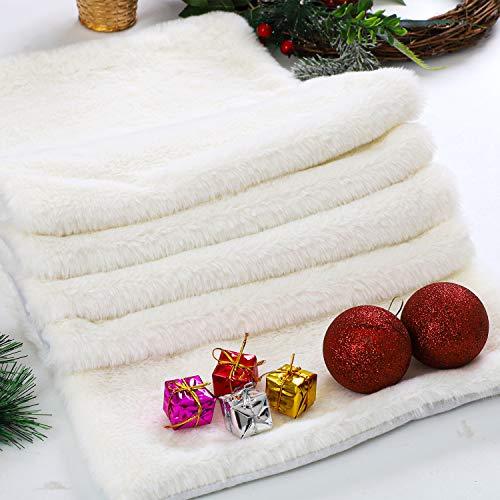 Aneco Weihnachten Tischläufer Winter schneeweiß Tischläufer Kunstfell Tischläufer für Weihnachten Urlaub Tischdekorationen 182 x 38 cm
