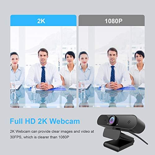 Webcam 1440P mit Mikrofon, 2K Full HD PC Web-Kamera mit automatischer Lichtkorrektur, 115° Sichtfeld, USB 2.0 Plug & Play für Videochat und Aufnahme, kompatibel mit Windows, Mac und Android (2K)