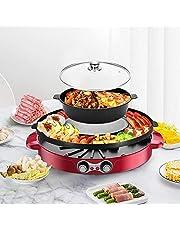 TOPQSC Hot Pot Grill, 44 cm, dubbele scheiding, elektrisch, voor 2-12 personen grill (rood)