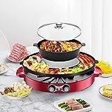 TOPQSC Elektrische Hot Pot BBQ 2 in1 2200W Doppelte Trennung Korean Barbecue Grill Haushalts-Hot-Pot, 44CM Backform-Grillpfanne Keramische Beschichtung Rauchfreier im Innenbereich für 5-8 Personen