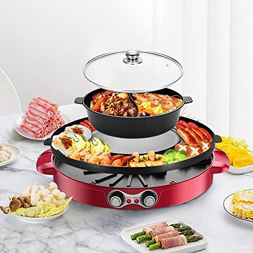TOPQSC Elektrische Hot Pot BBQ 2 in1 2200W Doppelte Trennung Korean Barbecue Grill Haushalts-Hot-Pot, 44CM Backform-Grillpfanne Keramische Beschichtung Rauchfreier im Innenbereich für 5-8 Personen