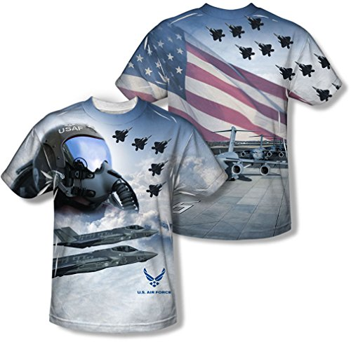 Air Force - T-shirt de la jeunesse Pilot (Front / Back Imprimer) -, X-Large, White