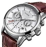 LIGE Montre HommeFashion Business Montre Blanc Quartz Horloge de Sport Classique Etanche...