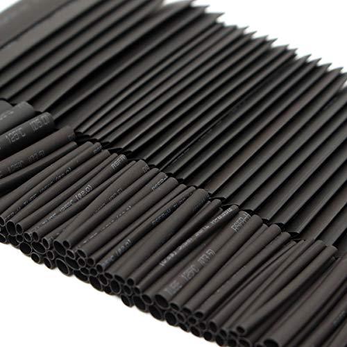 SISHUINIANHA 127Pcs Polyolefin Halogen-Free 2: 1 Isolieren Schrumpfschlauch Schlauchmanschette für Wrap Kabel Aderhülle Sleeving Kits Schwarz 7Sizes