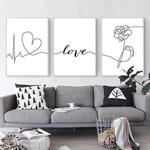 Cuadros Decoracion Salon Citas de amor carta arte cartel blanco y negro flor abstracta lienzo minimalista impresión Simple 3 piezas cuadro de pared pintura nórdica decoración del hogar Talla 1