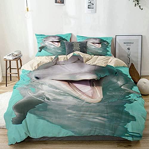 Zozun Funda nórdica, Juego de Funda nórdica con delfín Nariz de Botella Sonriendo a la cámara y sin edredón, Juego de Cama Extragrande