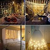 IMAGE Rideau Lumineux Solaire d'Extérieur de Jardin 3M*3M 300 LED Guirlande Lumineuse avec 8 Modes d'Eclairage Guirlande Lumineuse de Fée Etanche pour Noël Fête Mariage Maison Chambre-Blanche Chaud