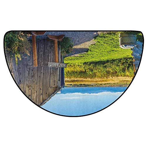Outhouse Modern Area semicircular Rug Cover for Bedroom Floor Sofa Living Room Old Rustic Wooden Cottage Barn Shed in a Farm Village Image Dark Grey Green and Sky Blue 36' L x 24' W