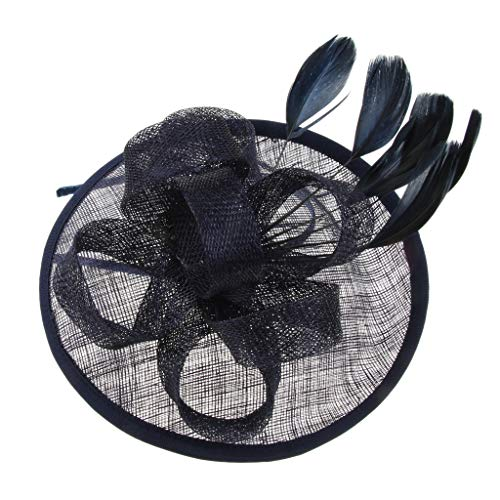 Perfeclan Plumes Fascinators Womens Fleur Derby Hat Mariage Nuptiales Headpieces - 5 couleurs - Bleu marin
