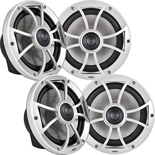 wet sounds Bundle: Two Pairs of XS-808 Series Silver Grill 8' Speakers. 150 Watts RMS Each