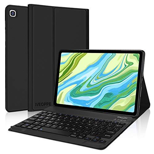 IVEOPPE Funda con teclado para Samsung Galaxy Tab A7 10.4 pulgadas 2020 SM-T500/T505/T507, funda con teclado alemán QWERTZ, funda protectora para Samsung Tab A7 10.4 pulgadas (negro)
