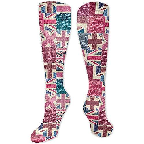Not applicable sokken Retro Patchwork met boots met Londen, lange sokken, wintersokken voor dames, 50 cm