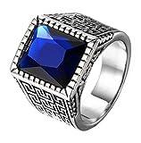 HIJONES Plata Anillo Grabado para Hombre Acero Inoxidable con Azul Piedra Preciosa Tamaño 28
