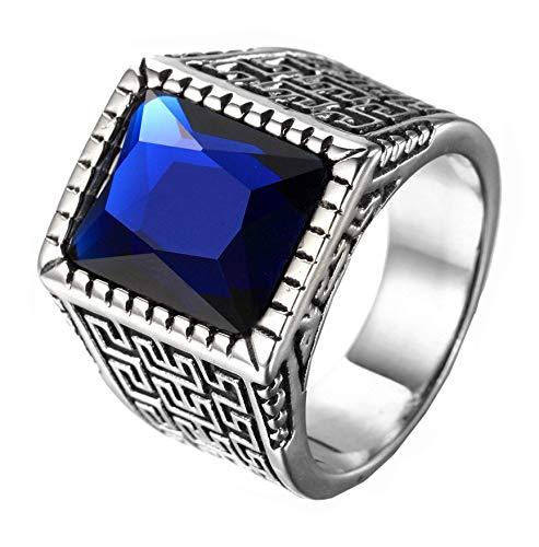 HIJONES Plata Anillo Grabado para Hombre Acero Inoxidable con Azul Piedra Preciosa Tamaño 22
