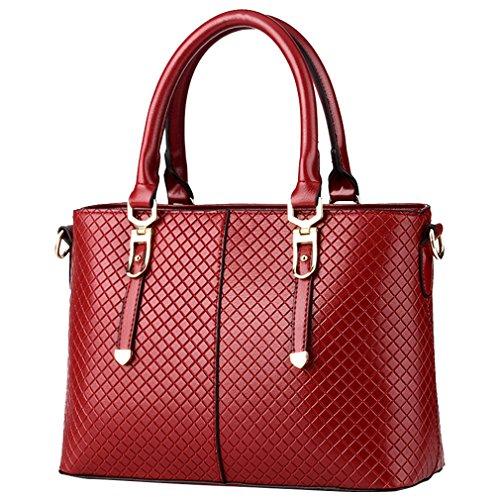 MissFox Borsa Donna Elegante A Mano Shopping Bag Da Spalla Trama A Maglia Cerniera Design Vino Rosso